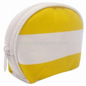 Fashionable Ladies Yellow and White Change Purse with White Zipper