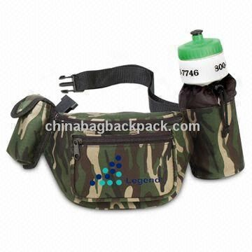 Waist Bag, Made of 600D Camo Polyester, Water Bottle is Included