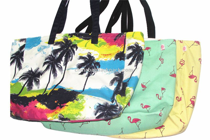 Promotional 2015 Fabric Printed Ladies Beach Bag and Women's Tote ...